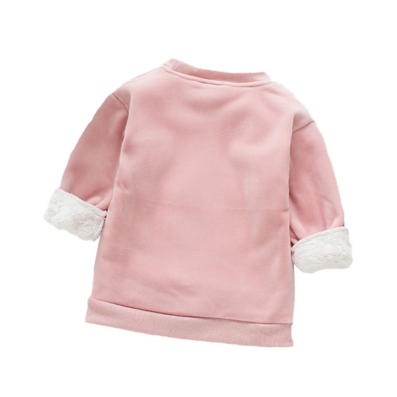 Baby Clothes For Girl Long Sleeve Cartoon Print Baby Girl Sweater Top Winter Warm Plus Velvet Kids Clothes Pullover 4