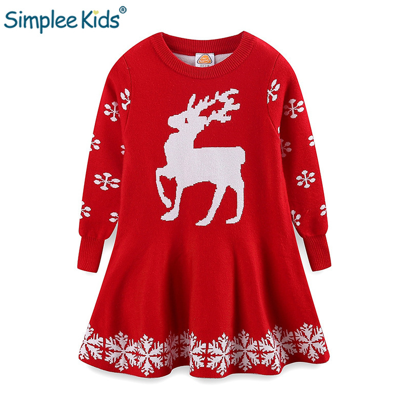 Christmas Girls Dresses Elk New Year Dresses for Girl Kids Long Sleeve Children Winter Sweater Dress Red Xmas Clothing Autumn christmas sweater dress knitted autumn winter baby kids girls long sleeve clothing little princess dresses for girls cotton