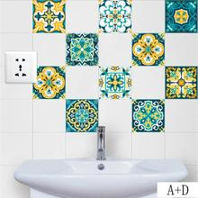 Moroccan Style Tiles Stickers PVC Waterproof Self adhesive Wall Stickers Furniture Bathroom DIY Removable Tile Sticker