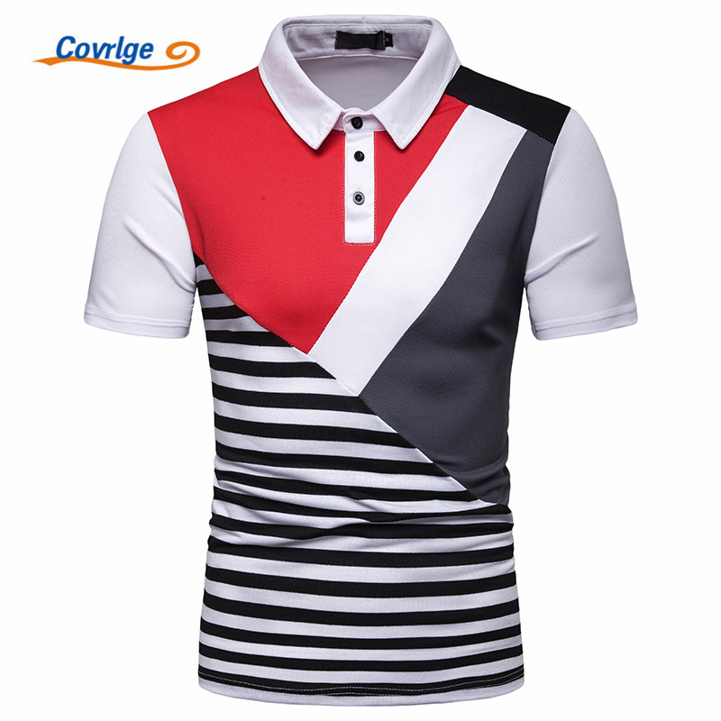 Covrlge Men   Polo   Shirt Brand Summer Jerseys Men Tops Casual Classic Stand Collar Male Cotton Breathable   Polo   Shirt XXL MTP119