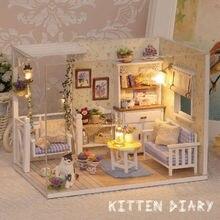 Casa de muñecas muebles muebles en miniatura bricolaje cubierta de polvo de madera 3D Miniaturas muñecas de Puzzle para niños regalos de cumpleaños juguetes gatito diario
