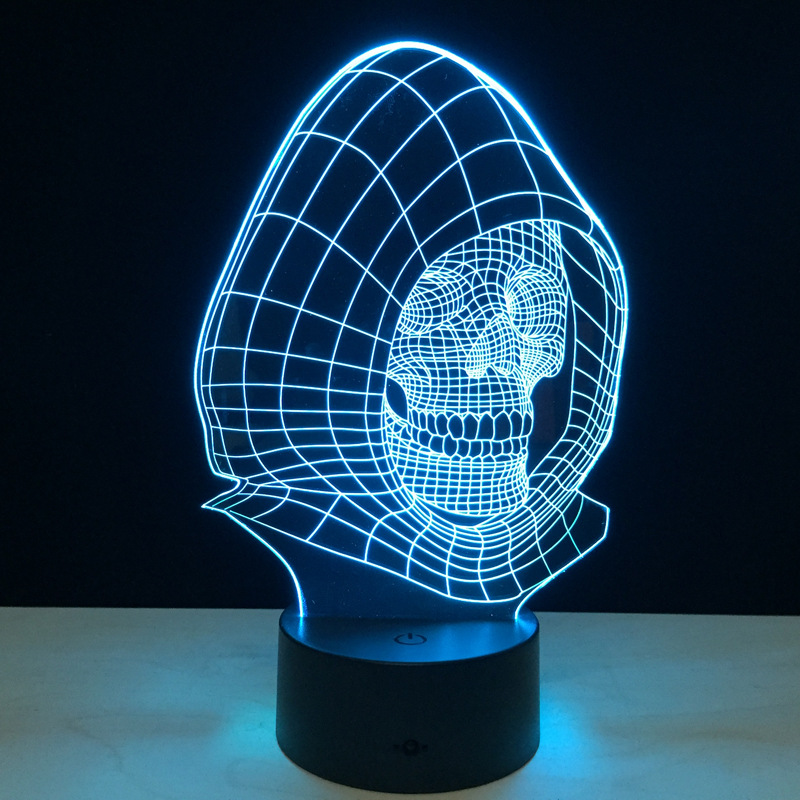 Художественный Череп 3d Светодиодная лампа визуальный стол ночник голограмма Иллюзия форма черепа настольная лампа креативный подарок Usb с...