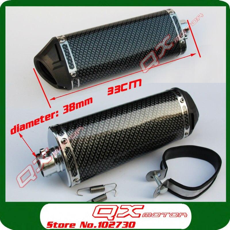 125cc-160cc Dirt Pit Bike MX motorcycle 38mm exhaust muffler refires carbon fiber quiet exhaust pipe silencedr back-end