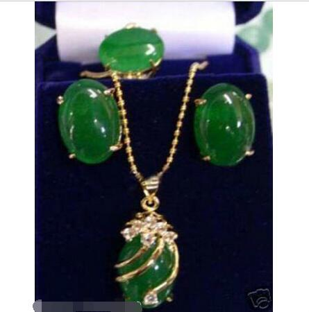 Wholesale price 16new ^^^^Jewelry green stone pendant necklace earrings ring set + Free Chain wholesale price 16new ^^^^ewellery green stone inlay zircon earring pendant ring sets