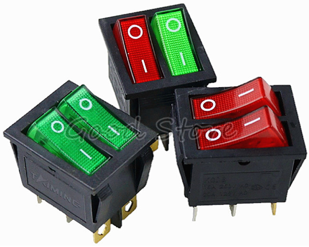 1PCS KCD8 6PIN 16A 250V 20A 125V Double Light Switch Rocker Switch Waterproof ON-OFF KCD6 Boat Power Switch
