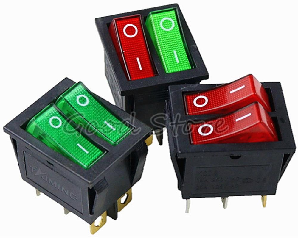 1PCS KCD8 6PIN 16A 250V 20A 125V Double Light Switch Rocker Switch Waterproof ON-OFF KCD6 Boat Power Switch