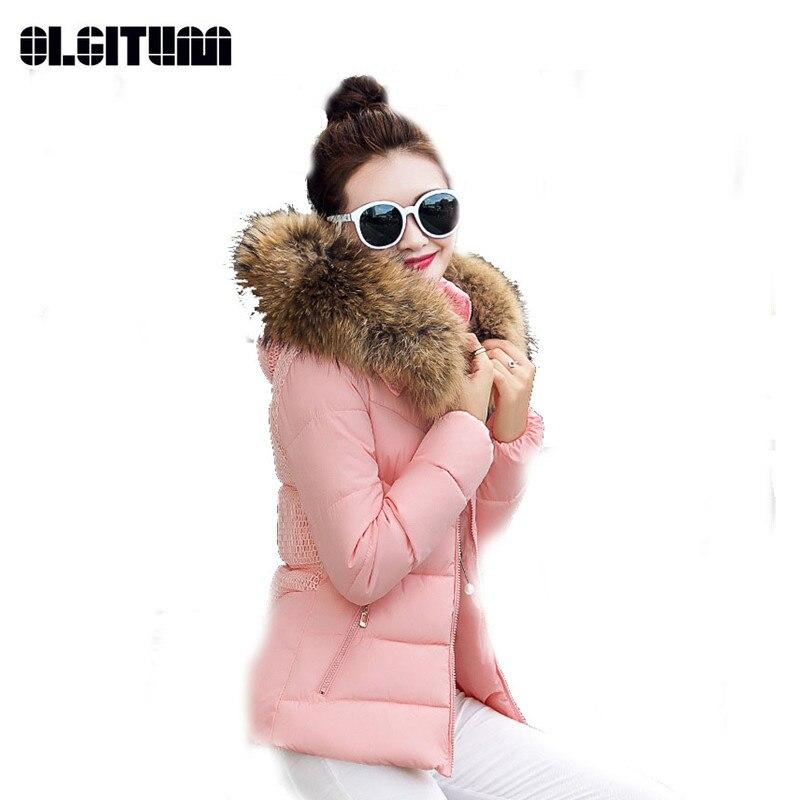 OLGITUM fausse fourrure col Parka en coton veste 2018 hiver femmes épais neige porter manteau dame vêtements femmes vestes CC310