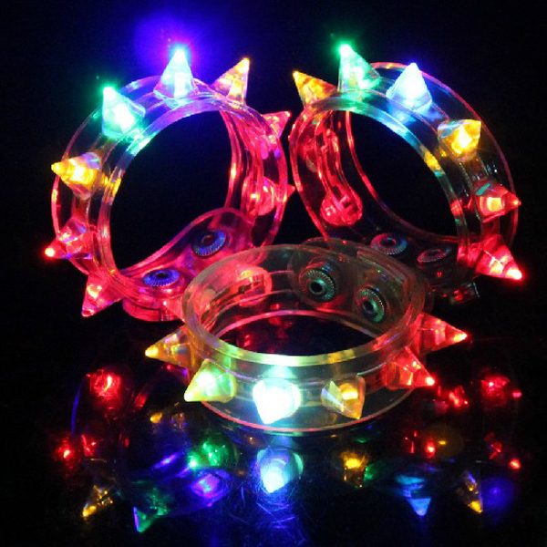 Legal 8-LED LED Colorido Light-up Pulseira LED Piscando Pulseira Spike para Festas/Bar/Clube de campo-12 pcs/dúzia