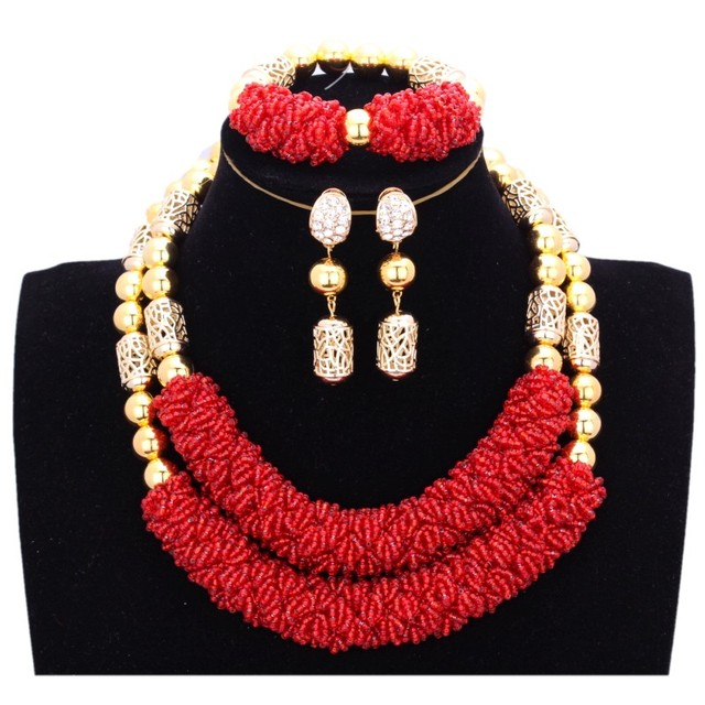 African Jewelry Sets 2 Layers Dubai Jewelry Plated Gold Rose Jewelry Sets For Bride Women Red Indian Bridal Jewelry Sets Fashion