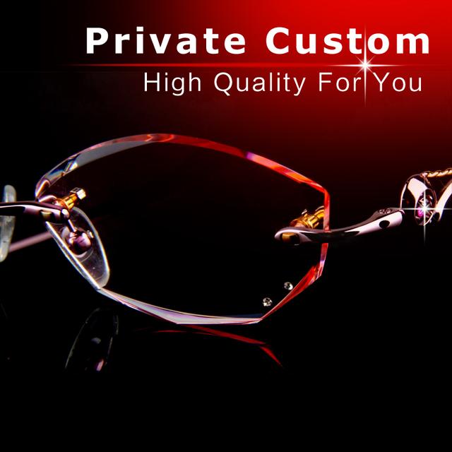 Óculos de luxo mulheres de alta qualidade Sem Moldura óculos Anti-fadiga limpar óculos da moda frame ótico óculos de grau 717