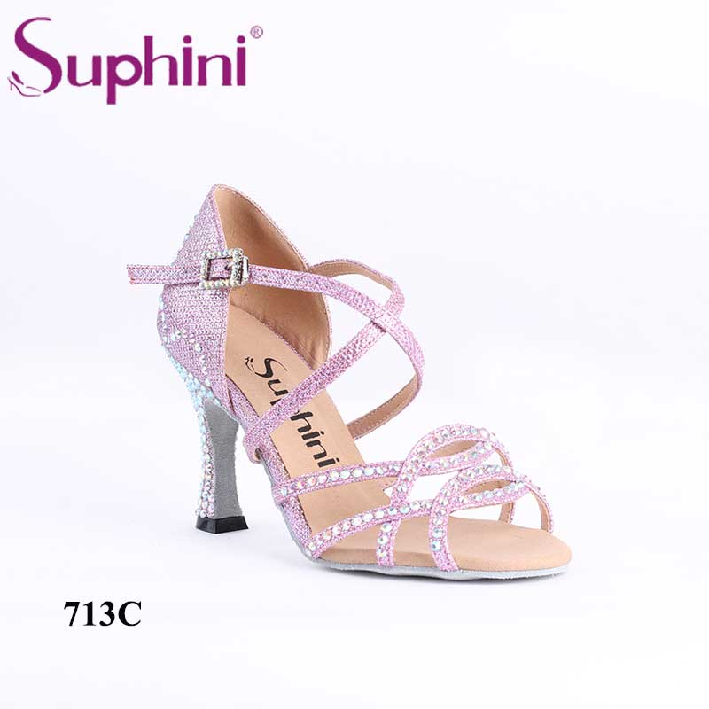 Colorful Crystal Diamond Women Suphini Latin Dance Shoes Multicolor Sparkle Glitter Classic Practice High Heel Latin Shoes
