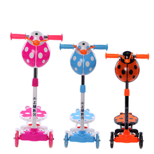 Lifting Music Flashlight detachable ladybird four wheel breaststroke steel tube colourful children scooter toy with three colour