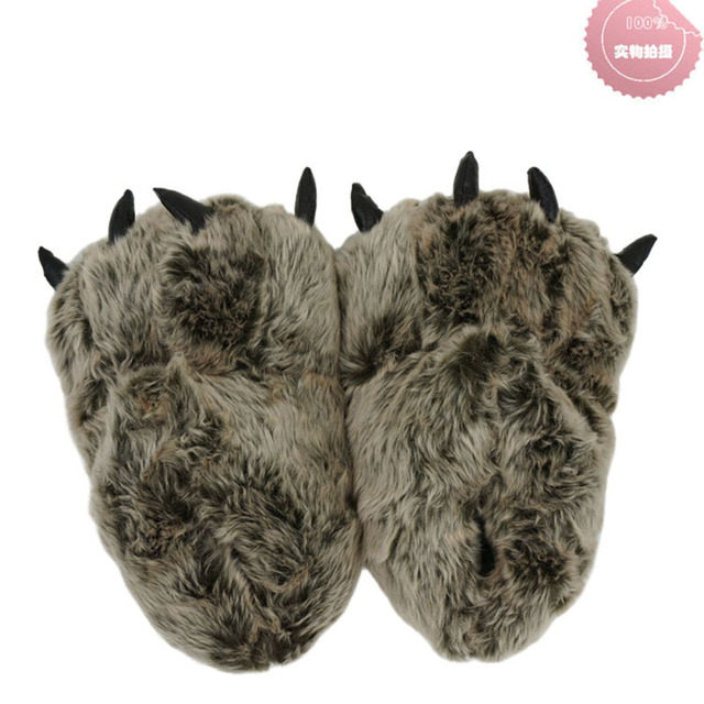 ac9474e15d5 Indoor Slippers Warm winter home slippers   shoes bear paw leopard claw  Plush bag with cotton slippers (brown)