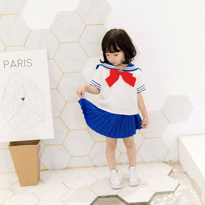 208d6bd7fe1b3 Kids Girls Sailor Moon Navy Dresses Princess Children Pleated Dress School  Uniform Birthday Party Gift Anime Halloween Clothing-in Dresses from Mother  ...