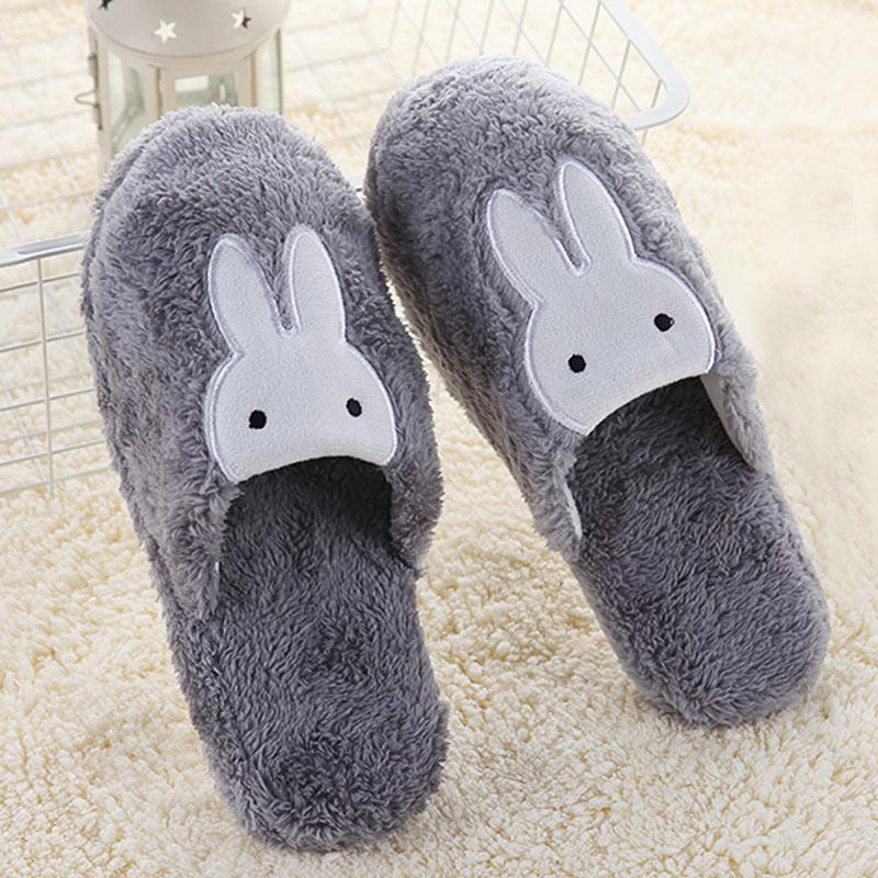 Women Cotton Home Slippers Non Slip Cute Rabbit Prints Indoor Soft Slippers Winter Couple Plush Warm Shoes Flats Female Slides цена 2017