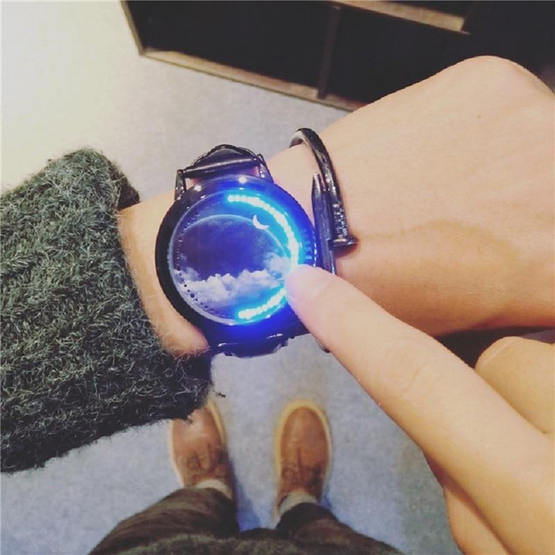 лучшая цена Creative Cool LED Sky star Touch Screen Steel Shell Wristwatch Genuine Leather Strap Digital Watch lovers' Wrist Watch Gift
