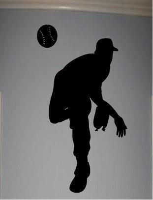 Etiqueta de la pared Decal cita Pitcher vinilo béisbol silueta niños ...
