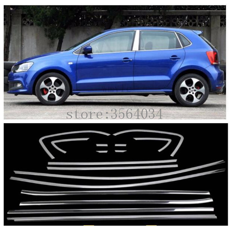Stainless Steel Window Trim For VW Volkswagen POLO 2014 2015 2016 2017 sticker Car Window frame Trim Sequin Accessories 18PCS stainless steel full window with center pillar decoration trim car accessories for hyundai ix35 2013 2014 2015 24