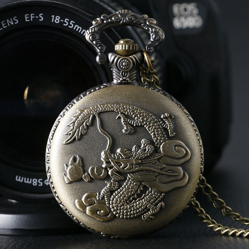 Fob Pocket Watches Retro Bronze Chinese Style Dragon Pendant Quartz Pocket Watch With Necklace Chain Clock Free Drop Shipping