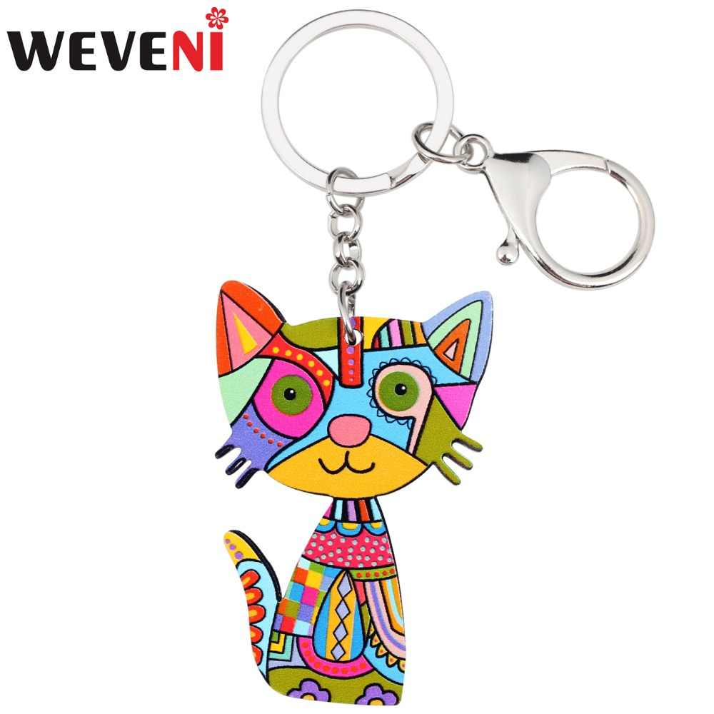 WEVENI Acrylic Anime Anime Colorful Cat Kitten Key Chains Holder For Women Girl Female  Cheap Car Pendant Pets Charms Gift