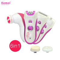6 in1 lady shaver epilator electric remover kemei face cleanser for bikini body trimmer women device hair removal depilador