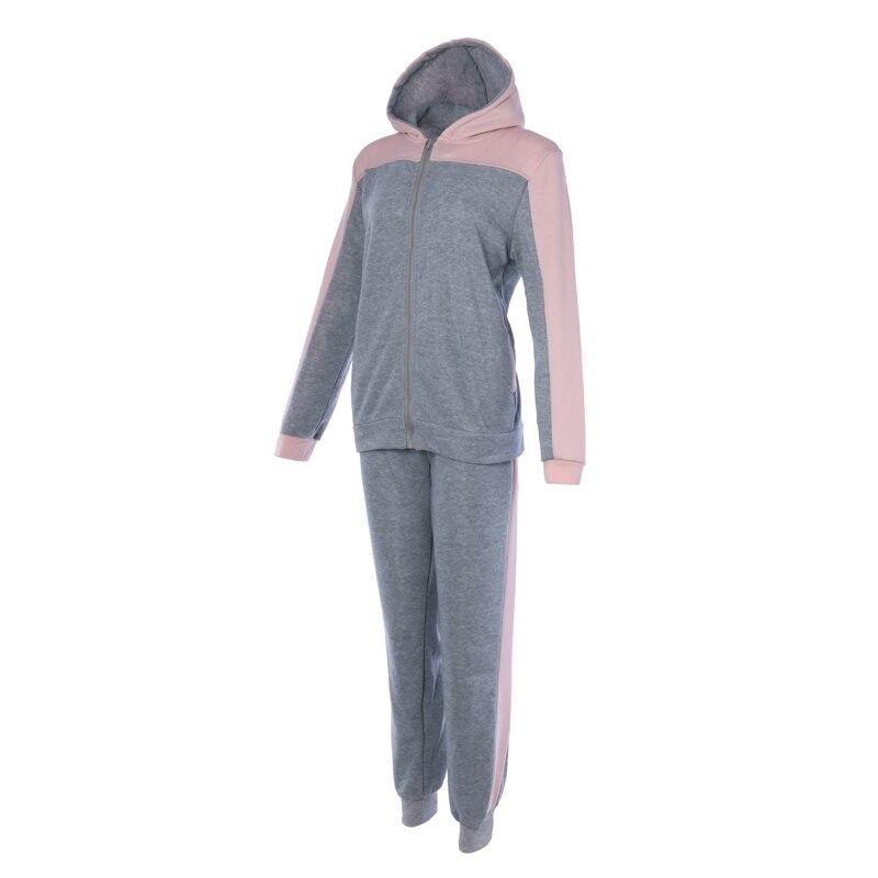 Vertvie 2019 Women 39 s Tracksuit Sweater Stitching Color Suit Long Sleeve Zipper Hat Shirt Trousers Warm Plus Size Sportswear