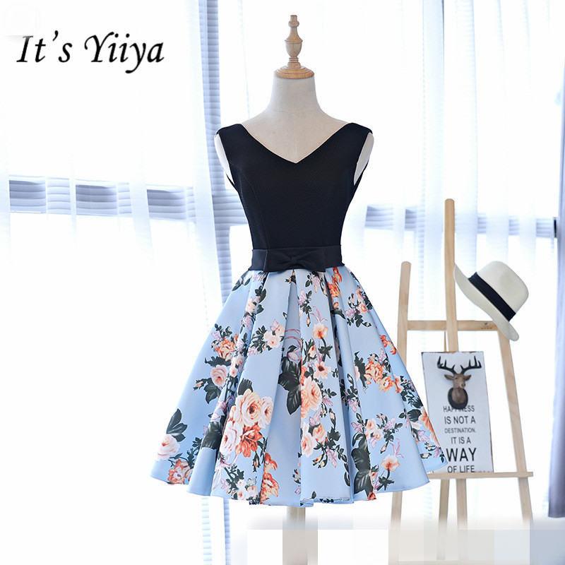 It's YiiYa New Sleeveless V-neck   Bridesmaid     Dresses   Elegant Printing A-line Frocks H006