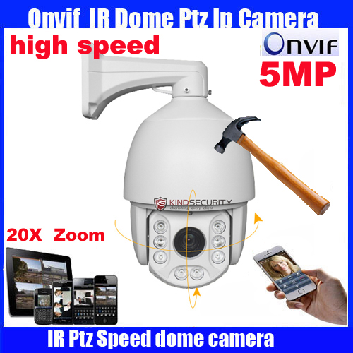7 inch Full HD-IP high Speed Dome Camera Onvif 5Megapixel 20X optical zoom cctv camera Network IP PTZ camera top high speed full teeth piston