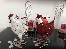 H19cm galinha de metal dupla face, branco/vermelho bonito, quarto infantil, janela presente de ano novo, decoração de natal. presentes