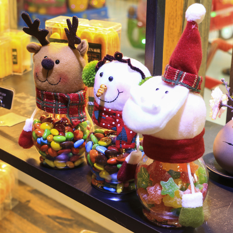 1Pc Santa Claus/Snowman/Elk Plush Doll Gifts Box Christmas Ornaments Kids  Candy Gifts Holder Storage Christmas Decoration #92575