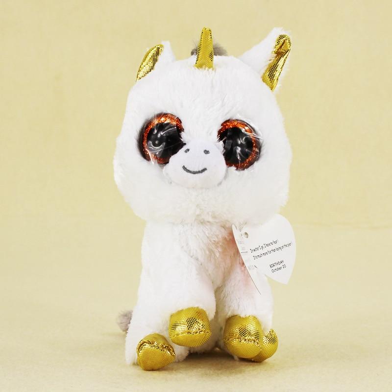 15cm Ty Beanie Boos Big Eyes Plush Toy Doll White Unicorn TY Baby Kids Gift