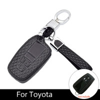 ATOBABI Genuine Leather Microfiber Leather Car Key Cover Fob Cases For Toyota CHR C HR 2017