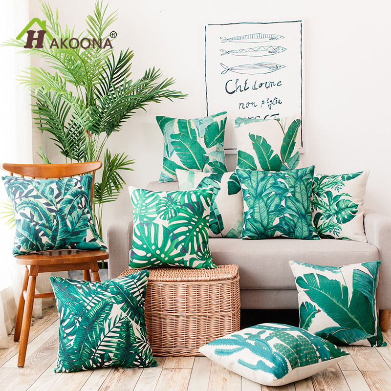 HAKOONA New Cotton Linen Fabric Square 45x45cm Cushion Covers Green Leaves Printed Fresh Style Car Cushion Coves