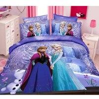 Cartoon Frozen Princess Elsa Anna Girls Bedding Set Children's Duvet Cover Set Bedroom Decor Twin/Single Size Birthday Gift