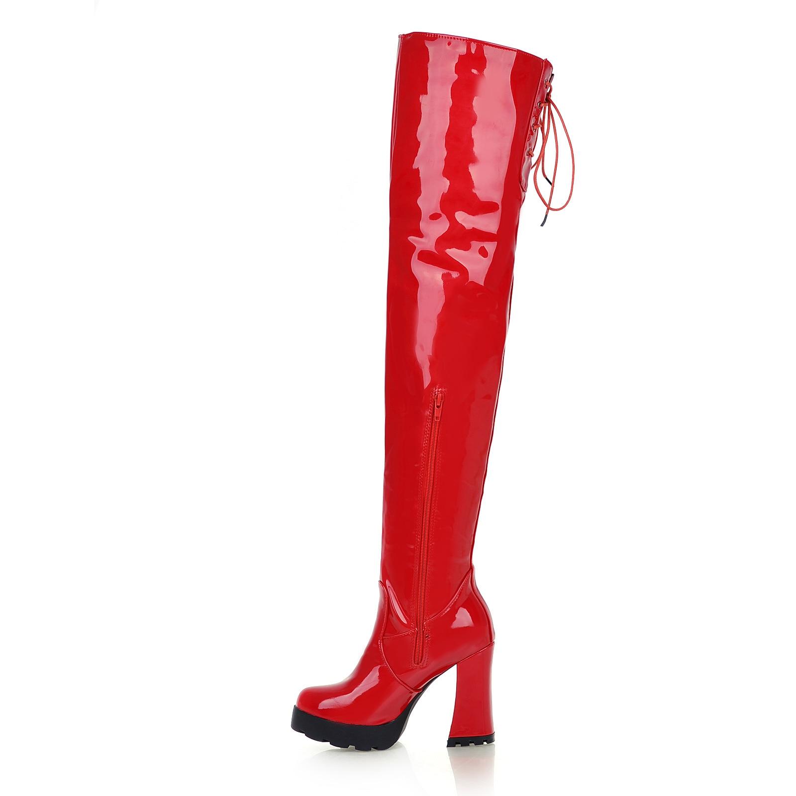 Plate Noir Cuir Femmes Cuisse Zipper forme Mode De Bout Talon Hiver Bottes Sur En Le rouge Haut Noir Sexy blanc Genou Rouge Rond Verni Épais dRrCqR