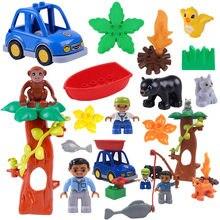 Acessórios blocos de construção natureza animais passeios barco jogar tijolos compatíveis com duploed peças brinquedos para crianças presente