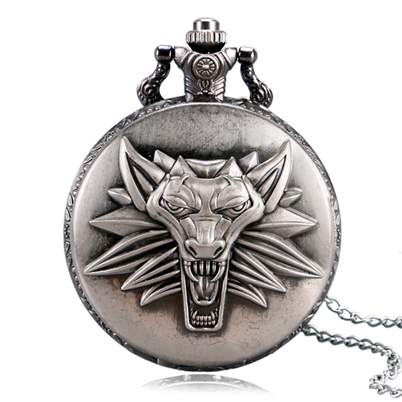 Antique Bronze Dragon Animal Design Quartz Vintage Pocket Watch With Necklace Watches Men Reloj De Bolsillo Clock Gifts