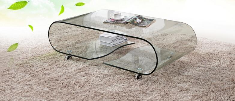 Hot bending glass sitting room small family tea table toughened glass small tea table phone sofa the round table