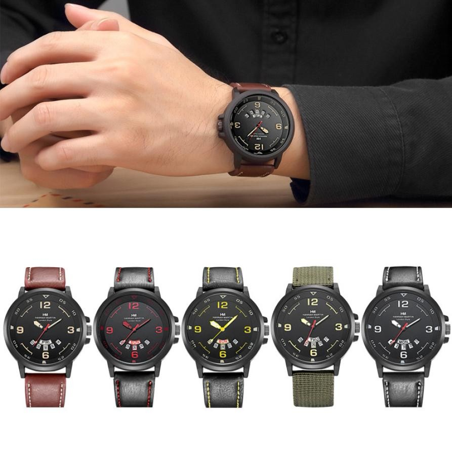 Top Brands Men Luxury Army Date Display Leather Band Stainless Steel Design Sport Analog Quartz Wrist Watch clock xfcs gift