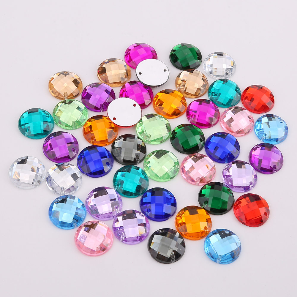 8mm/10mm/12mm/15mm Round Acrylic Flat Back Rhinestone 2 Holes sewing Rhinestone Crystal Beads For DIY Crafts 18 colors choose(China)