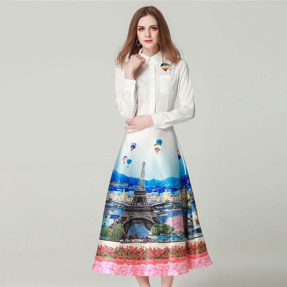 GooliShowsi women designer runway 2019 spring Summer long Sleeve scenery Print bohemian dress white Dresses robe femme Vestidos-in Dresses from Women's Clothing    1