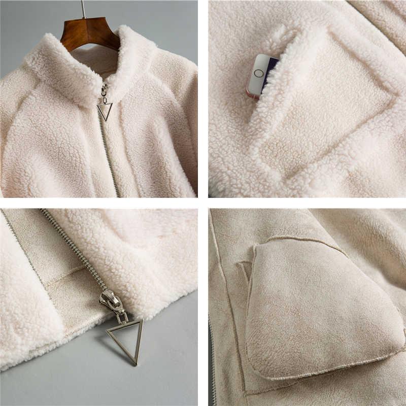 Зимнее женское пальто из 30% натуральной шерсти на молнии, теплая Повседневная куртка из овечьей шерсти, меховые пальто для девочек, женская короткая куртка, пальто OMS911