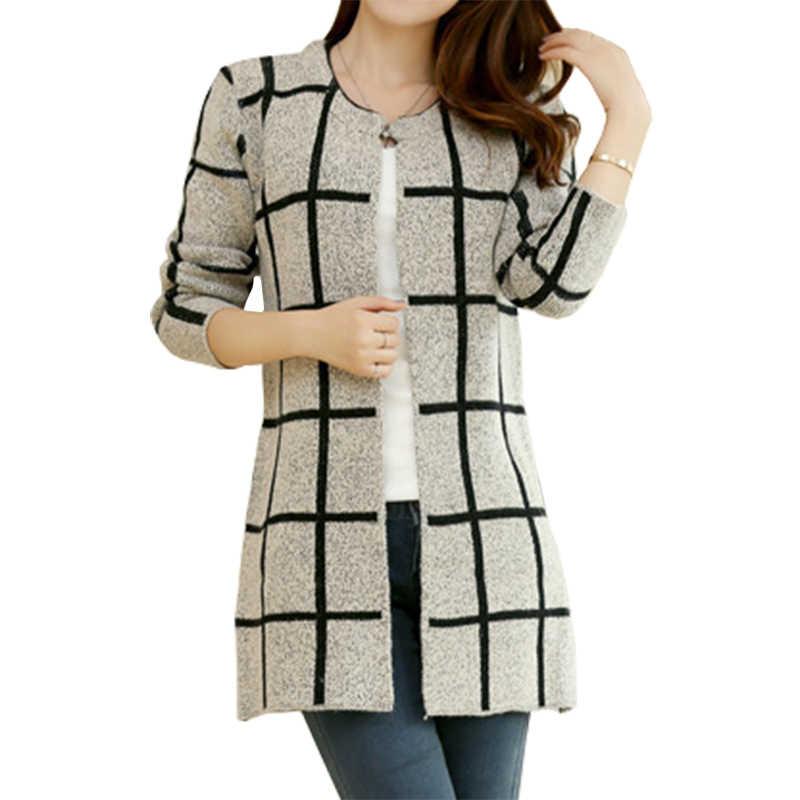 Frühling Herbst Langen Mantel Winter Pullover Frauen Neue Koreanische Lose Große Yards Dünne Plaid Stricken Strickjacke Weibliche Vestidos LXJ253