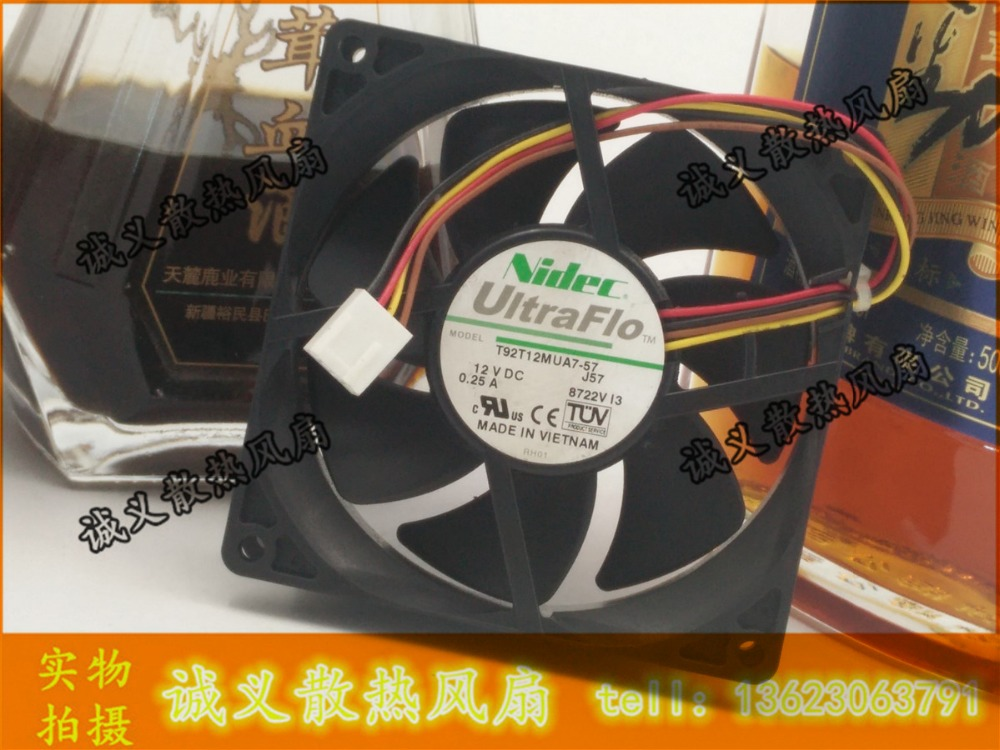 100ks / LOT Original pro Nidec UltraFlo série T92T12MUA7-57 DC12V 0.25A 90 * 90 * 25MM 9cm PWM tichý ventilátor