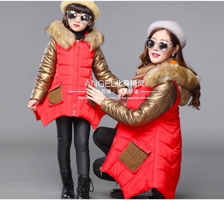 цены 2017 Mother and Daughter Matching Jacket Outfits Girls Family Clothing Winter Coat Girls Long Sleeve Thicken Outwear Clothing