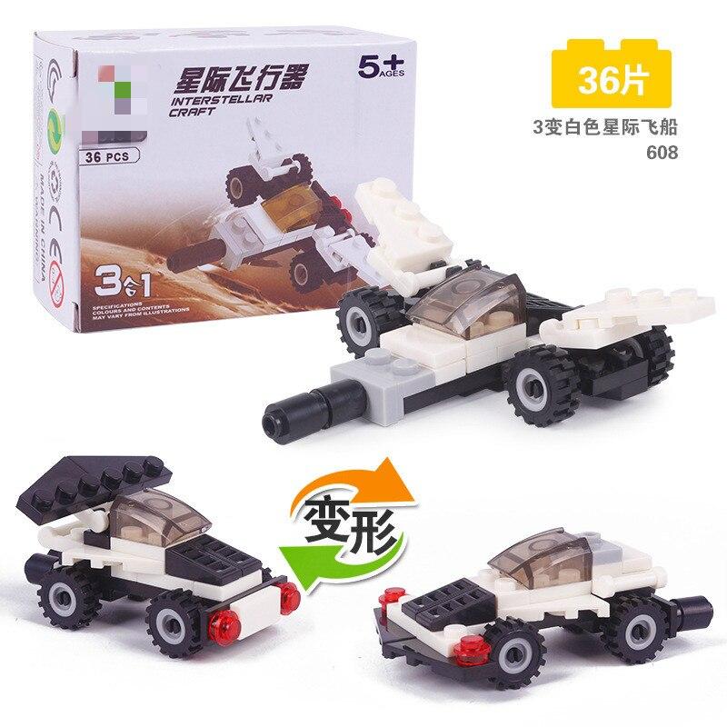3 In 1 White Interstellar Craft Aircraft Mini Block 36pcs Kids DIY Toys Best Gifts for Children Building Block Hot Mini Brick