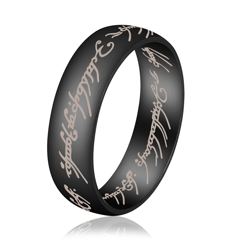 6mm vintage finger letters rings black gold silver color stainless steel rings jewelry bijoux for women men friendship gift 6 13 - Sports Wedding Rings