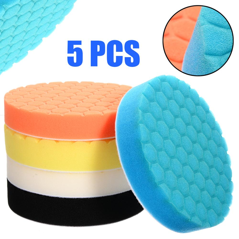 5pcs/set Sponge Polishing Pad 6 Inch 150mm Buffing Waxing Pad For Boat Car Polisher Buffer Drill Wheel Polisher Tools