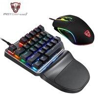 Motospeed K27 V30 Single Hand Mechanical Computer PC PUBG Gaming Keyboard 27 key Wired USB 9 LED Backlit Model Russian sticker