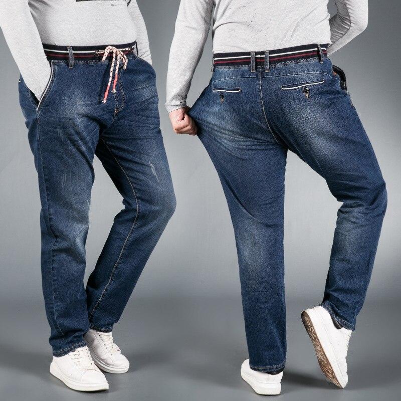 QMGOOD Plus Size 6XL 7XL Elastic Waist Men's   Jeans   Loose Straight Casual Stretch Big Size Men   Jeans   High Quality Denim Trouser